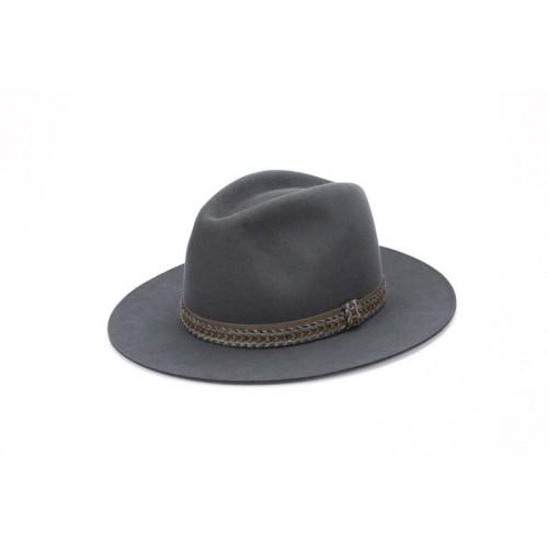 Sombrero Zuri Fedora Hombre Color Gris Cinta Trenzada sombrerería Fernández y Roche