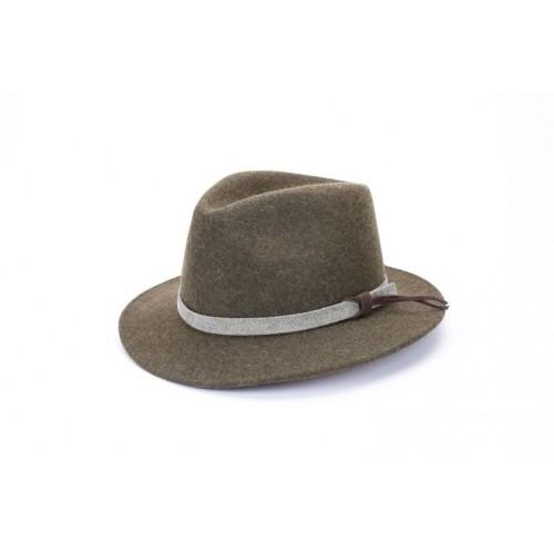 Sombrero John Fedora Color Verde Cinta Piel sombrerería Fernández y Roche