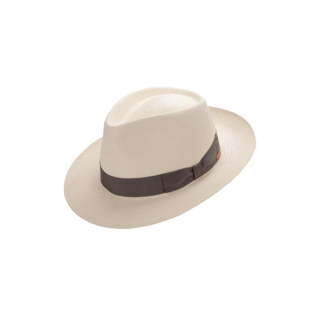 Amaru sombrero de hombre panamá copa fedora color blanco y cinta gris. Fernádez y ROCHE
