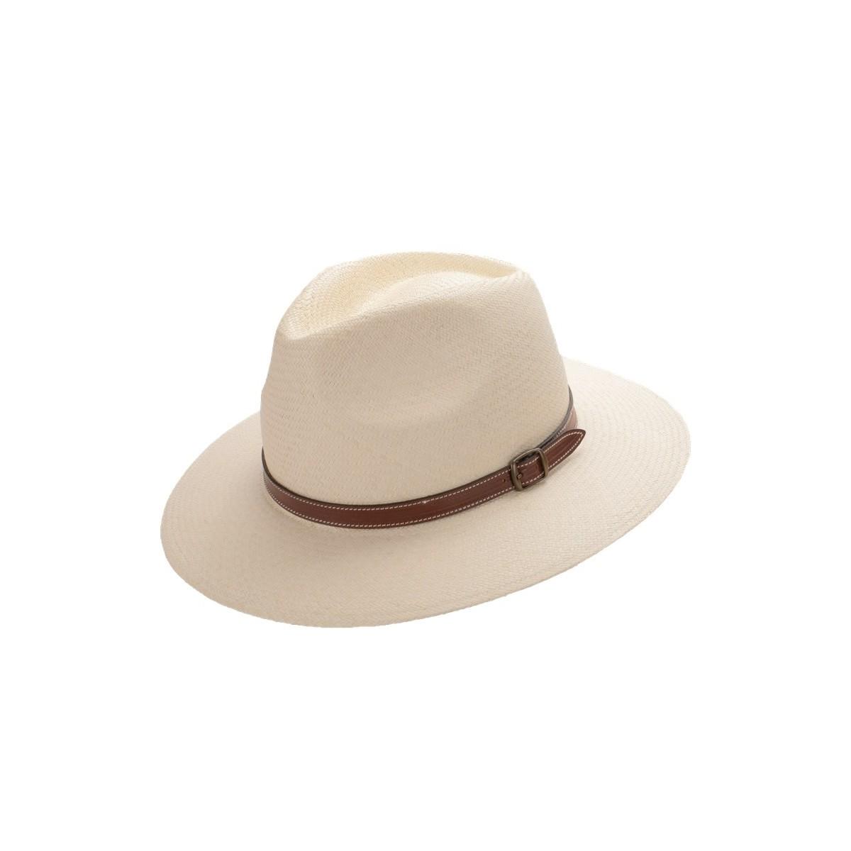 Aser sombrero de hombre panamá copa safari color natural y correa de piel marrón con hebilla. Fernández y ROCHE