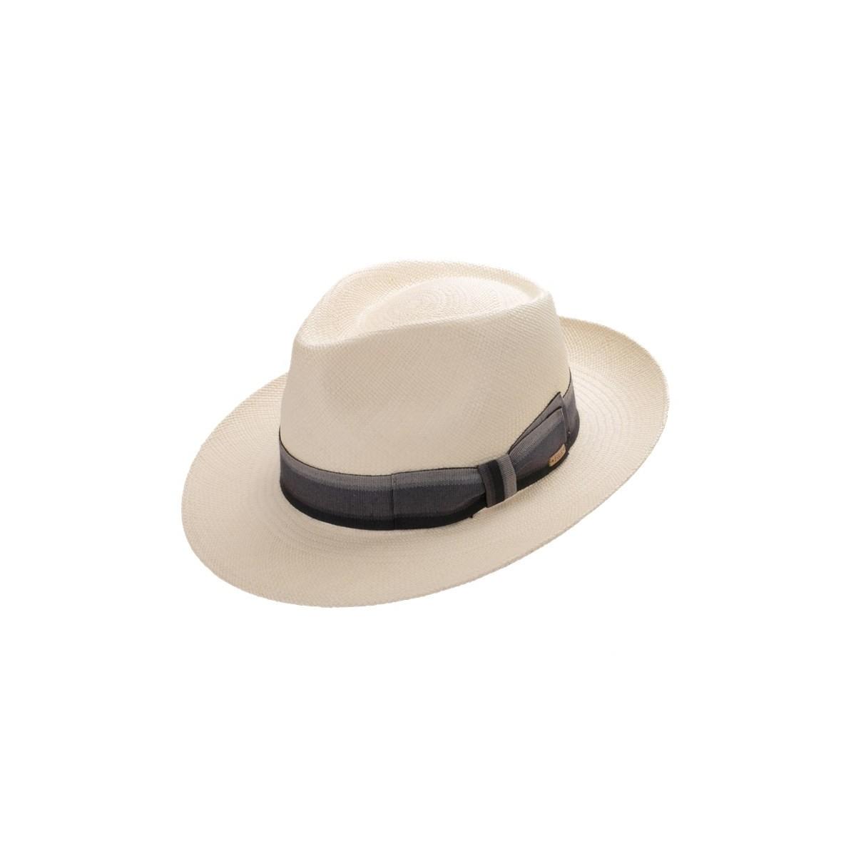 Bour sombrero de hombre panamá color natural y cinta de rayas grises. Fernández y ROCHE