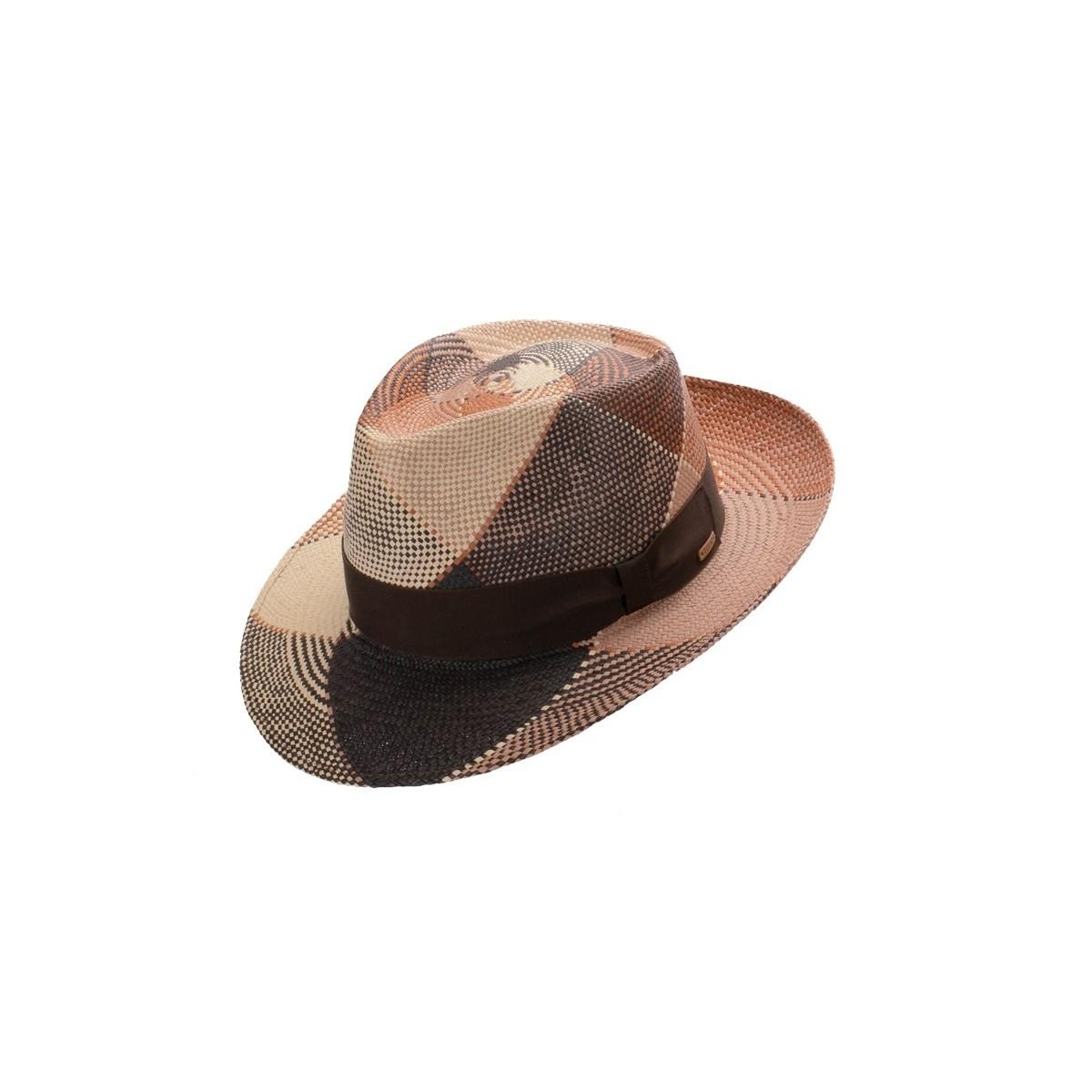 Bruno sombrero de hombre panamá trenzado en varios colores efecto geométrico. Fernández y ROCHE