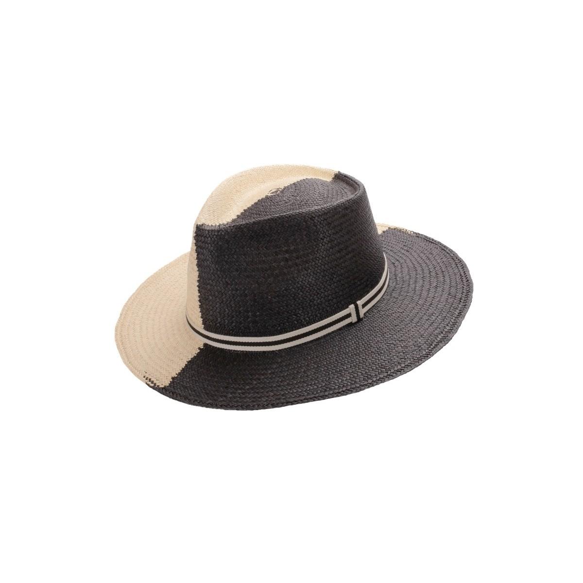 Debla sombrero de hombre panamá ala plana ying yang en colores blanco y negro. Fernández y ROCHE.