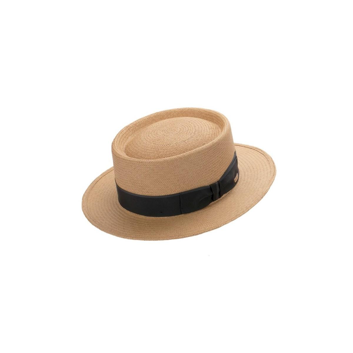 Duque sombrero de hombre panamá Pork Pie en color lima con cinta a rayas Grograin en negro y gris. Fernández y ROCHE