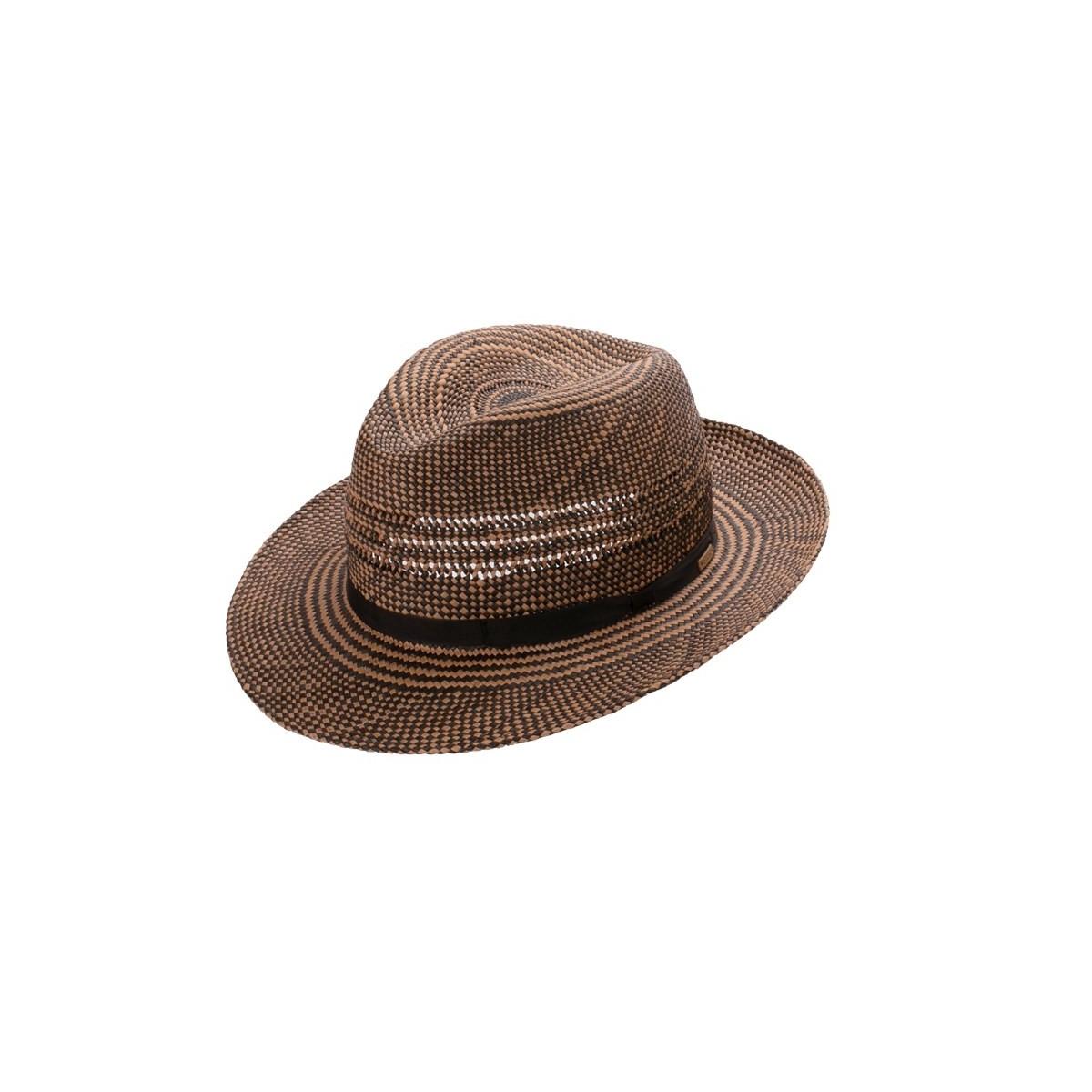 Ekon sombrero de hombre para el verano Fedora en color crean degradado con cinta negra. Fernández y ROCHE