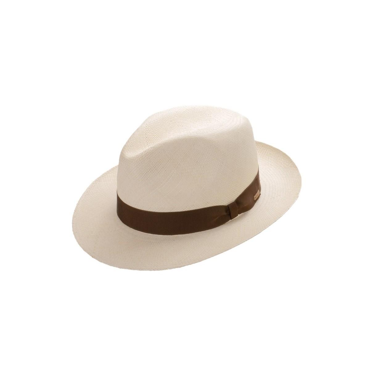 Roman sombrero de hombre panamá copa Fedora en blanco con cinta marrón chocolate. Fernández y ROCHE
