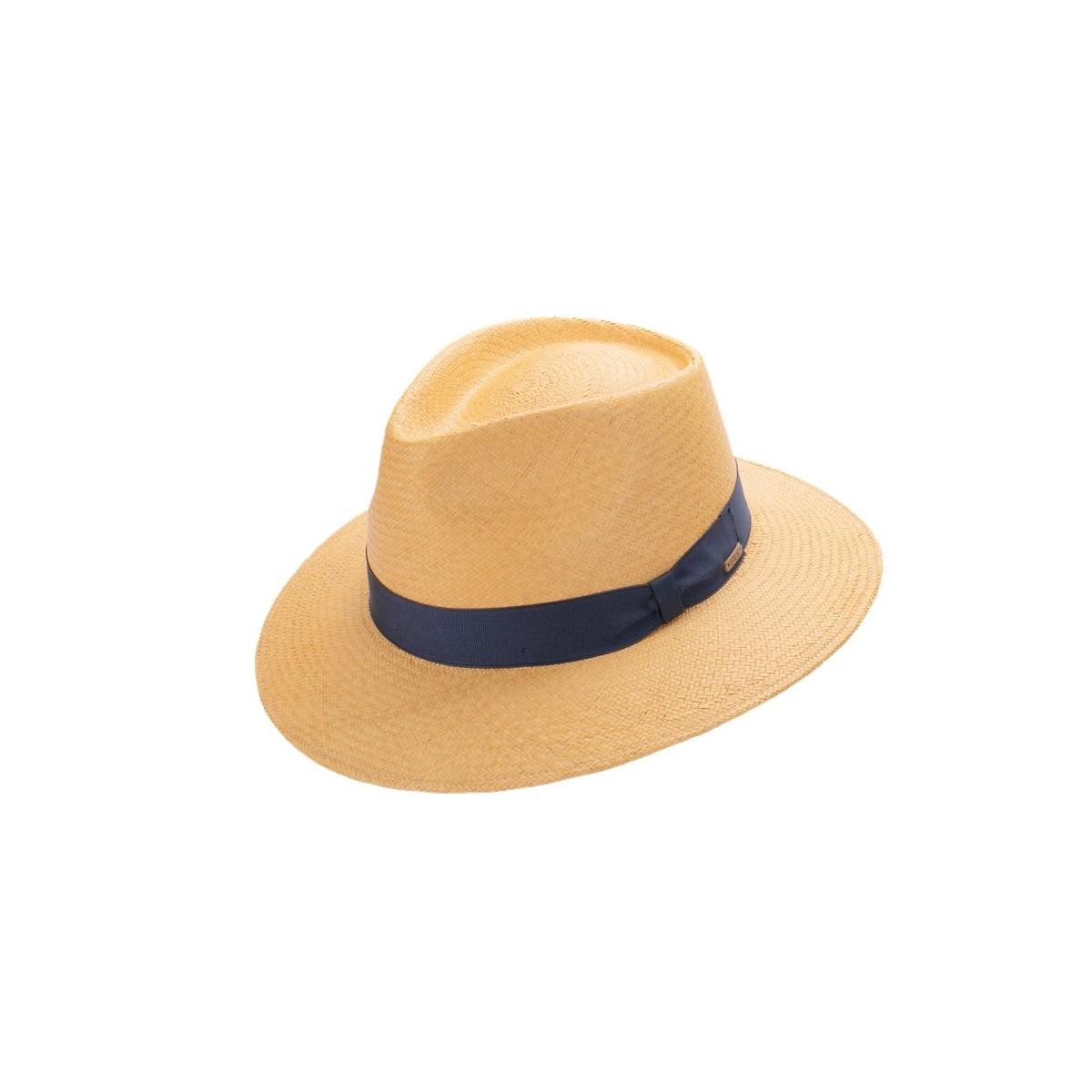 Tango sombrero panamá unisex copa safari en color habano y cinta azul. Fernández y ROCHE