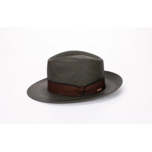 Florián sombrero de hombre panamá para el verano color verde seco y cinta marrón y lazada clásica Pefil. Fernández y ROCHE