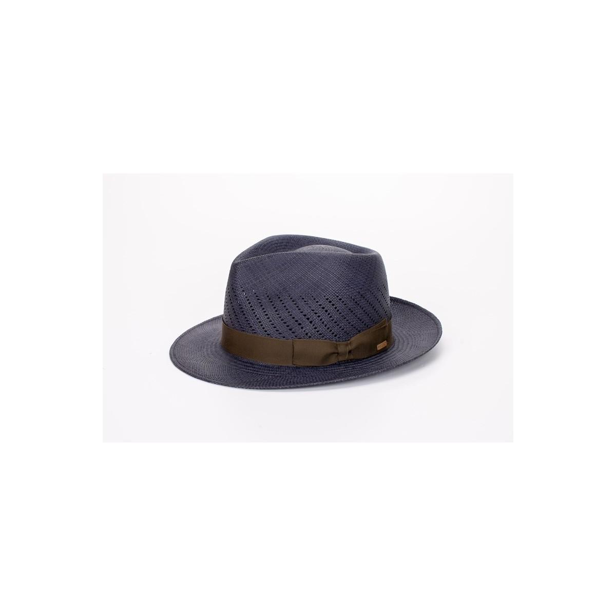 Maltés sombrero de hombre panamá copa calada color azul y cinta camuflaje. Fernández y ROCHE