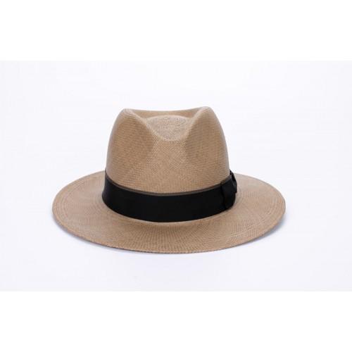 Milton sombrero de hombre panamá copa fedora color cacao y cinta marrón. Hecho a mano en España. Fernández y ROCHE