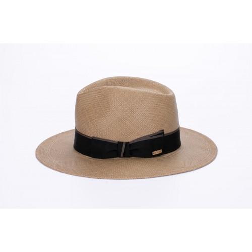 Milton sombrero de hombre de verano copa fedora color cacao y cinta marrón. Fernández y ROCHE