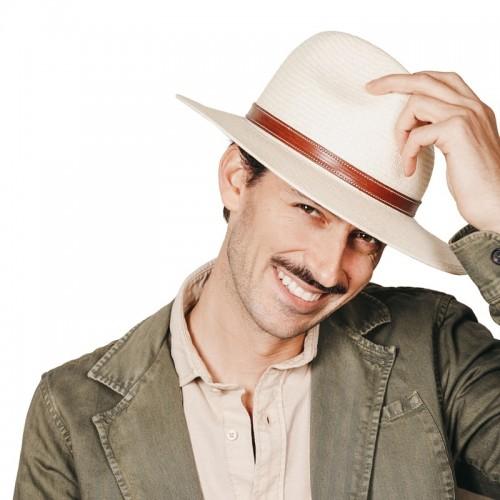 Aser sombrero de hombre panamá copa safari color natural. Hecho a mano en España. Fernández y ROCHE