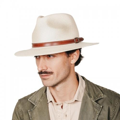 Aser sombrero de hombre para el verano panamá copa safari color natural y correa de piel marrón con hebilla. Fernández y ROCHE