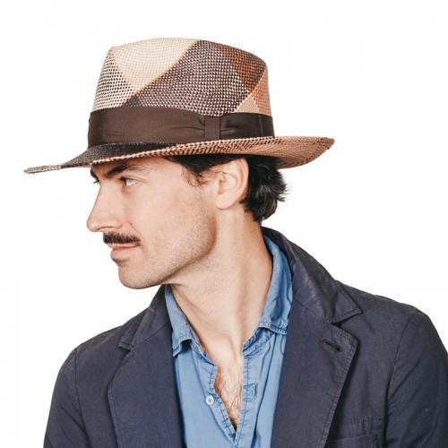 Bruno sombrero de hombre panamá trenzado en varios colores efecto geométrico. Hecho en España. Fernández y ROCHE