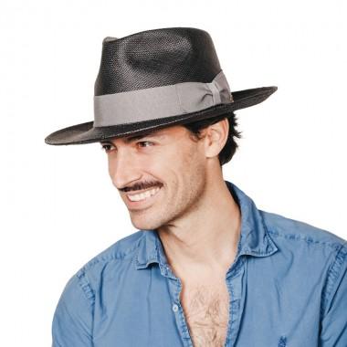 Daren sombrero de hombre panamá para el verano color negro con cinta gris. Fernández y ROCHE