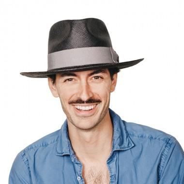 Daren sombrero de hombre panamá para el verano color negro con cinta gris. Hecho a mano. Fernández y ROCHE