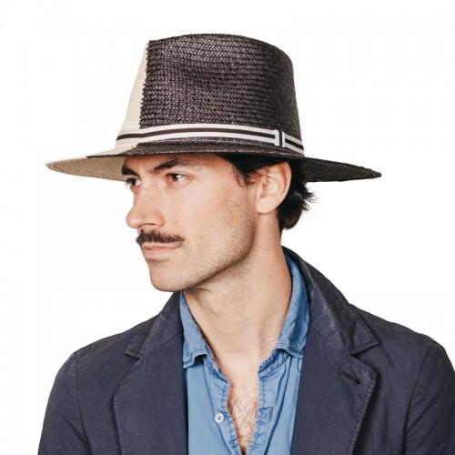 Debla sombrero de hombre para el verano panamá ala plana ying yang en colores blanco y negro. Fernández y ROCHE