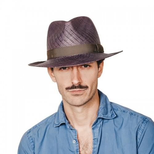 Maltés sombrero de hombre panamá de verano copa calada color azul y cinta camuflaje. Fernández y ROCHE