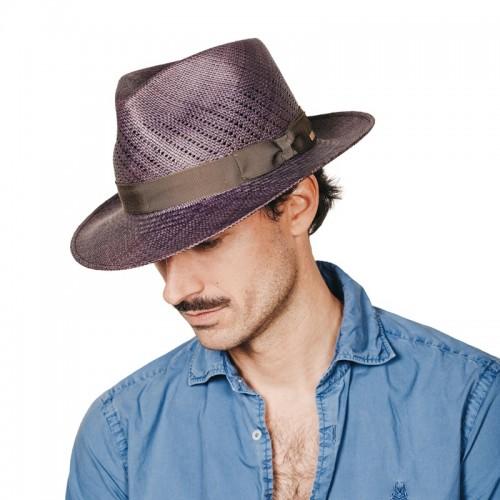 Maltés sombrero de hombre panamá copa calada color azul y cinta camuflaje. Hecho a mano en España. Fernández y ROCHE
