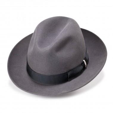 Dulio sombrero fieltro de pelo estilo fedora color acero. Hecho a mano en España. Fernández y Roche