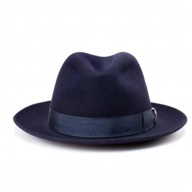 Dulio sombrero fieltro de pelo estilo fedora color azul medianoche. Hecho a mano en España. Fernández y Roche