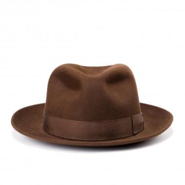 Nic sombrero fieltro de pelo estilo fedora color marrón. Hecho a mano en España Fernández y Roche