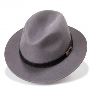 Arosa sombrero fieltro de pelo estilo copa diamante color gris acero. Hecho en España. Fernández y Roche