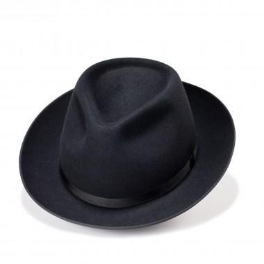 Telde felt hat with hairstyle tear crown black. Handmade in Spain. Fernandez Y Roche