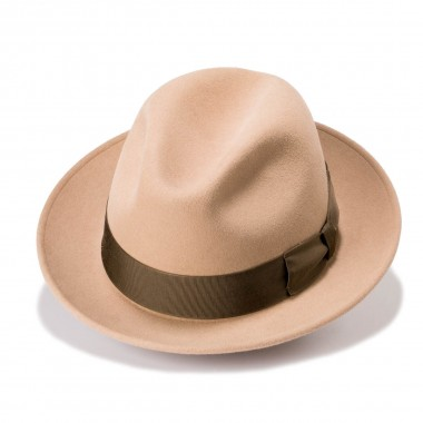 Efren Trilby style felt hat with a Otter color. Handmade in Spain. Fernandez y Roche