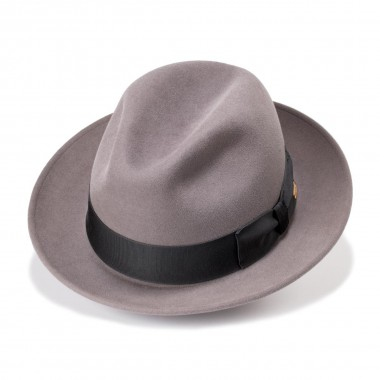 Efren Trilby style felt hat with Steel color. Handmade in Spain. Fernandez y Roche