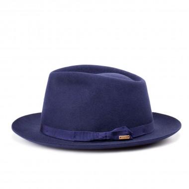 Saint sombrero fieltro de pelo estilo Fedora en color Marino. Hecho en España. Fernández y Roche
