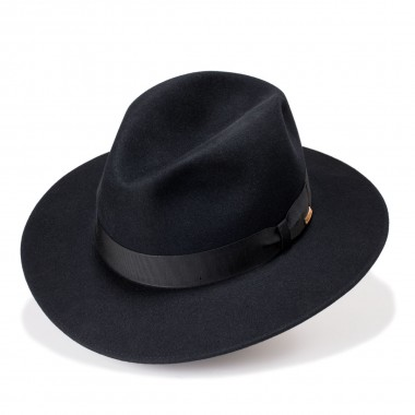 Albi black hat felt hat with hair Crown style. Handmade in Spain. Fernandez y Roche
