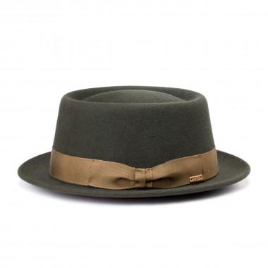 Larne sombrero fieltro de pelo estilo Porkpie color verde. Hecho a mano en España.  Fernandez y Roche