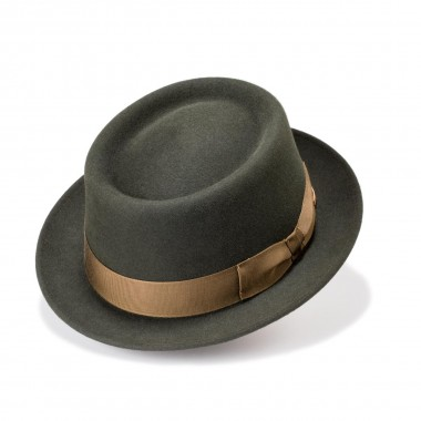 Larne Green Porkpie Hair Felt Hat. Handmade in Spain. Fernandez y Roche