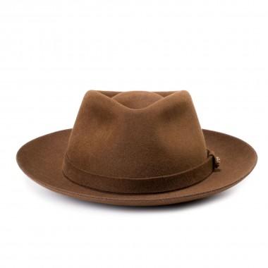 Euston sombrero fieltro de pelo estilo Fedora color Marrón Malta. Hecho a mano en España. Fernández y Roche