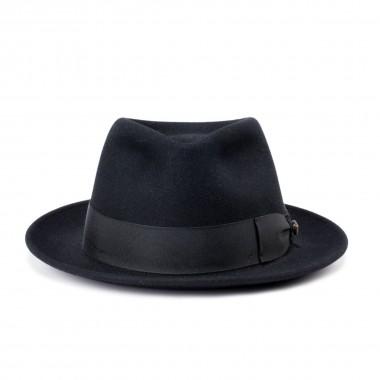 London sombrero fieltro de pelo estilo Fedora color Negro. Hecho a mano en España. Fernández y Roche