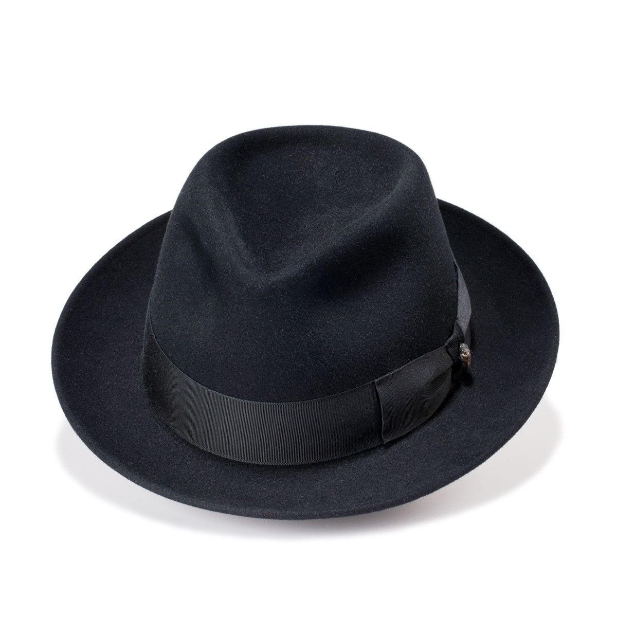 London Black Fedora Style Felt Hat. Handmade in Spain. Fernandez y Roche