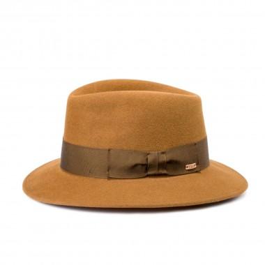 Corme sombrero fieltro de pelo estilo Copa Partida color Marrón Ocre. Hecho a mano. Fernández y Roche