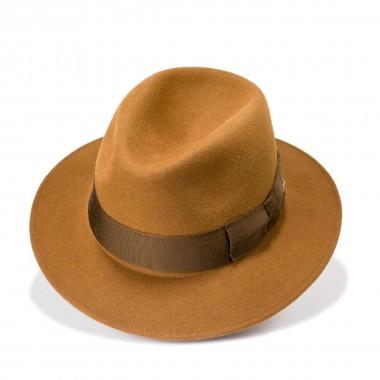 Corme sombrero fieltro de pelo estilo Copa Partida color Marrón Ocre. Fernández y Roche