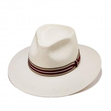 Genil sombrero panamá color natural y cinta grosgrain de rayas. Fernández y Roche