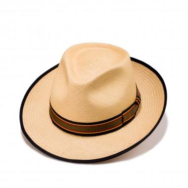 Barrera sombrero panamá color habano y cinta grosgrain de rayas. Fernández y Roche
