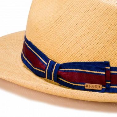 Rocha tan panama hat and striped grosgrain ribbon. Fernández y Roche