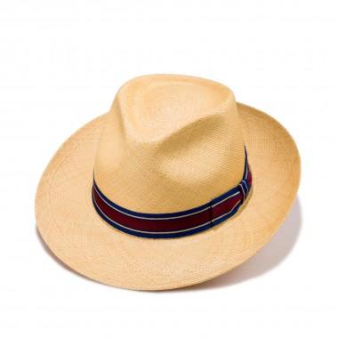 Rocha sombrero panamá color habano y cinta grosgrain de rayas. Fernández y Roche