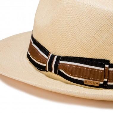 Santos sombrero panamá color natural  y cinta grosgrain. Fernández y Roche