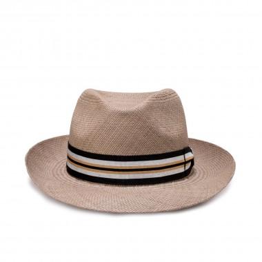 Balaro sombrero panamá color gris y cinta grosgrain de rayas. Fernández y Roche